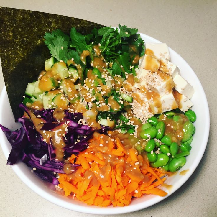 Quinoa and tofu Buddha Bowl with miso dressing