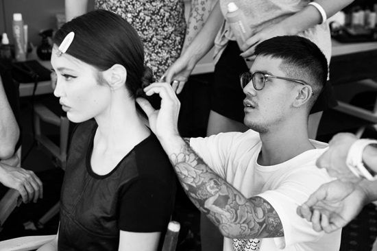 Backstage at the Workshop W14 Collections Show.