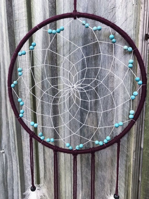 Maroon dream catcher, wall hanging, boho dorm decor, red dreamcatcher, turquoise beads, dream catcher, hippie decor, authentic dream catcher