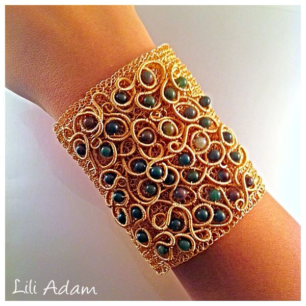 cuff bracelet, wire embroidery Jewelry