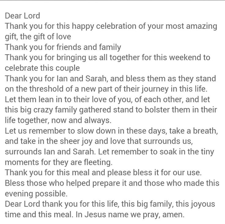 Beautiful rehearsal dinner prayer.