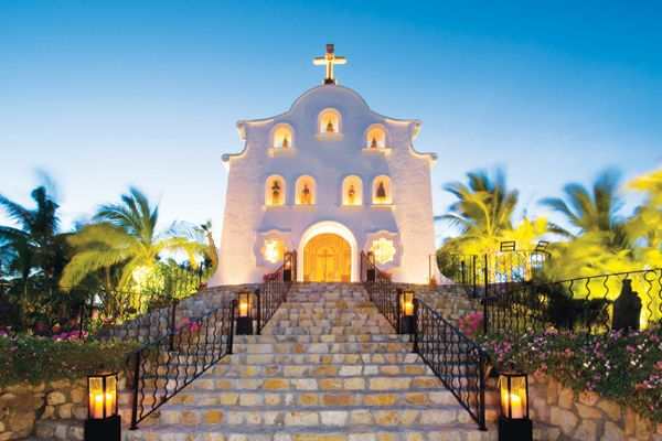 Cabo, Mexico.  Gorgeous church in the heart of a great town.  Perfect for a wedding away!