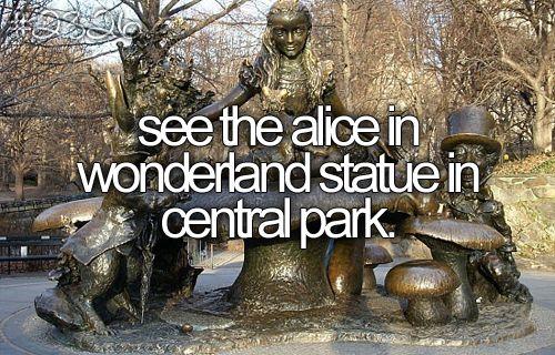 bucket list: New York Bucketlist, Centralpark, Buckets Lists, Wonderland Statues, Alice In Wonderland, Central Parks, Things, Newyork, Aliceinwonderland