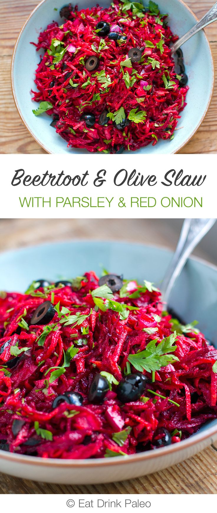 Beetroot & Olive Slaw With Parsley & Red Onions (Paleo, Whole30, Vegan)