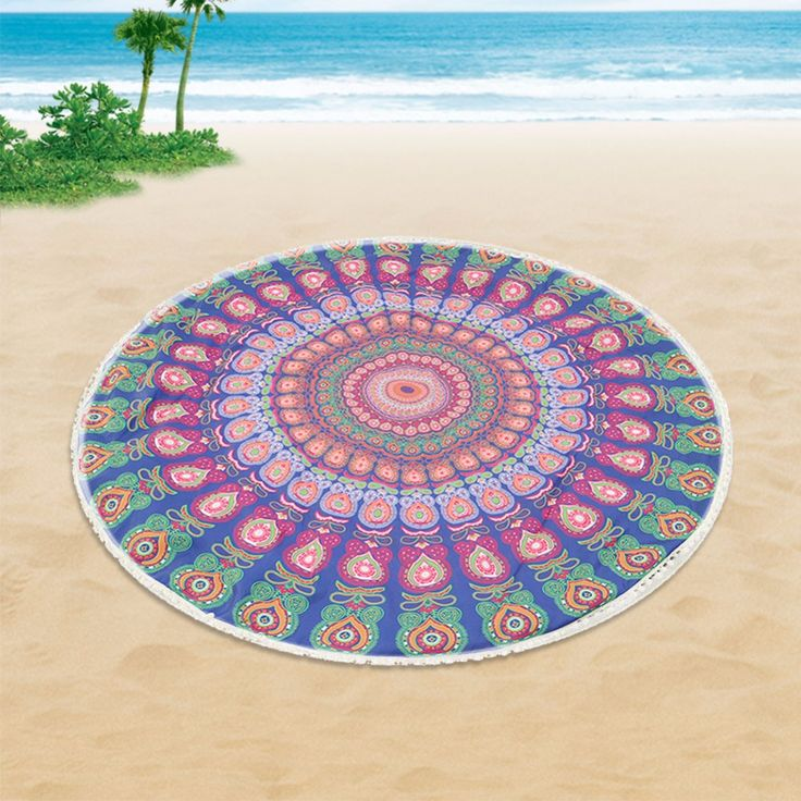 146cm Round Beach Towel Summer Holiday Beach Shawl Bath Towel Large Floral Cooling Swimming Towel For Adult Women #Affiliate