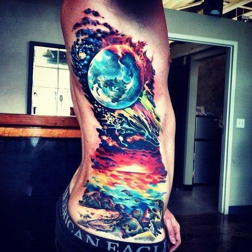 Wow, space, sky, ocean, rib tattoo