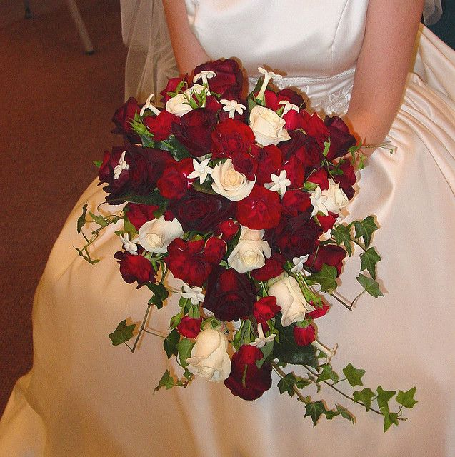 Deep red and Ivory rose cacade bridal bouquet by Brilliant Blooms, via Flickr