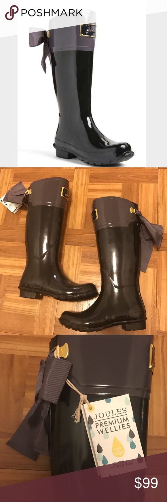 "JOULES Evedon rain boot bow Nordstrom Sz 6 NWT For sale is a brand new pair of Joules evedon rain boots in Sz 6, new with tags. The retail price is $165 at Nordstrom. A darling fitted rain boot features an embossed enamel signature plate and a glorious grosgrain bow—just think of it as riding boot in front, party boot in back. 1"" heel (size 10). 15"" boot shaft; 16"" calf circumference. Rubber upper/textile lining/rubber sole. Joules Shoes Winter & Rain Boots"