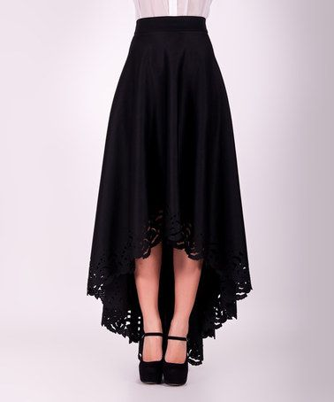 Look at this #zulilyfind! Black Lace-Trim Hi-Low Maxi Skirt #zulilyfinds