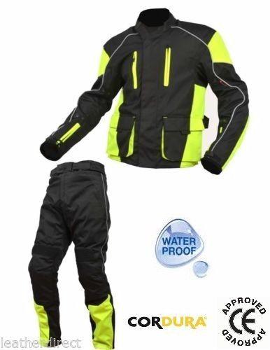 Para Hombre textiles Motocicleta Moto Hivis Enduro Chaqueta Pantalones Pantalones Kit Traje | eBay