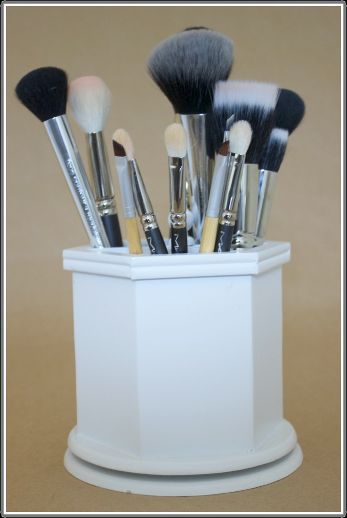 Lover her Brush Storage System-Need to get one asap.Read her makeup organization and essentials posts.