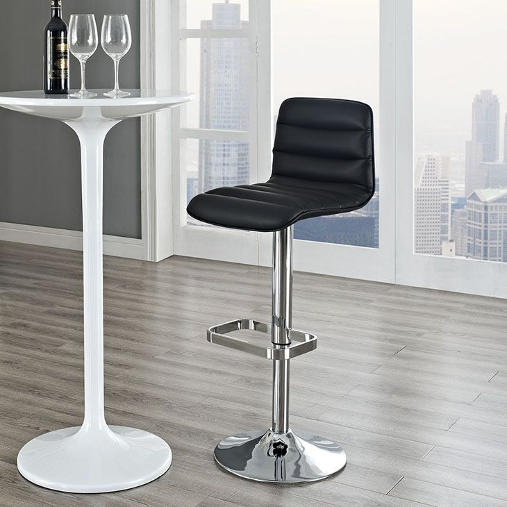 Add Unique Style To Your Bar Or Counter Decor With This Sleek Bar Stool.  Finished In A Sleek Chrome, This Stool Features A Bold Rippled Vinyl  Seating Design ...