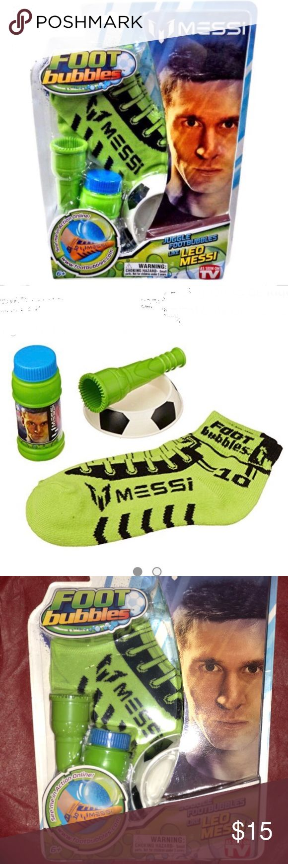 Leo Messi Foot Bubbles Kit Have you got what it takes, to take on the greatest? Step up with Leo Messi FootBubbles and juggle FootBubbles like the greatest soccer player in the world! The secret is the winning team of FootBubbles Super Solution and Messi Socks. The Super Solution is specially formulated and made to bounce with your feet when used with the specially designed Messi socks. Juggle FootBubbles by yourself or keep the bubble bouncing for as long as you can with your friends. The…