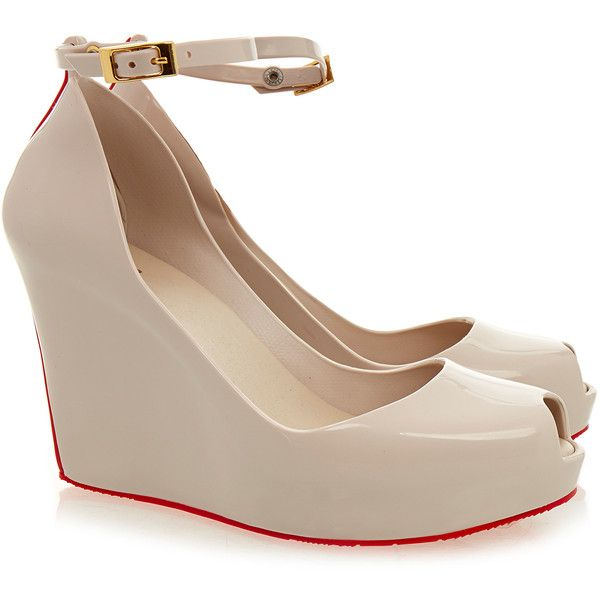 Melissa Patchuli Cream Red Wedge ($70) ❤ liked on Polyvore featuring shoes, sandals, cream, wedge heel shoes, melissa shoes, red wedge sandals, peep-toe shoes and peep toe sandals