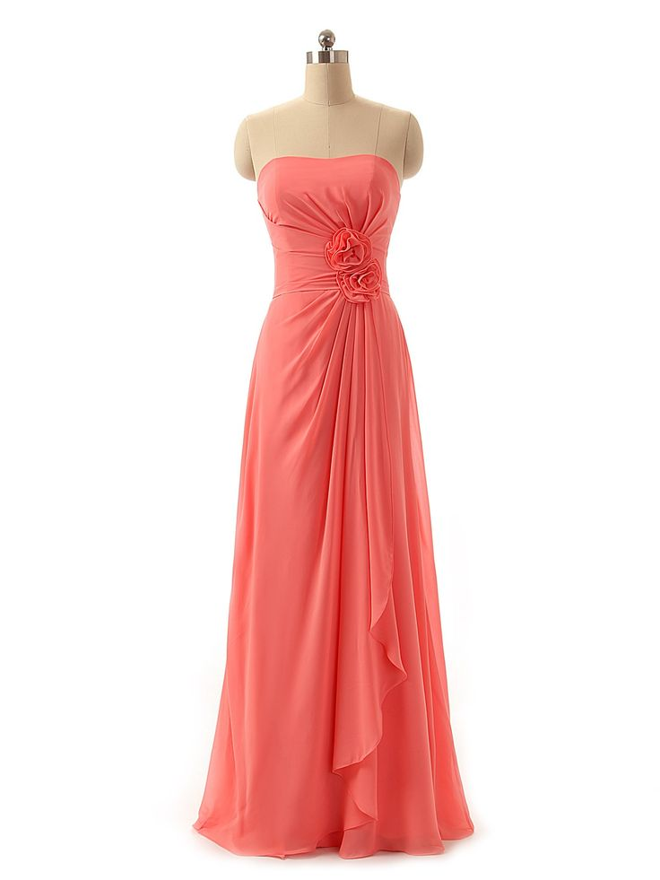 Sweetheart Coral Chiffon Long Bridesmaid Dress