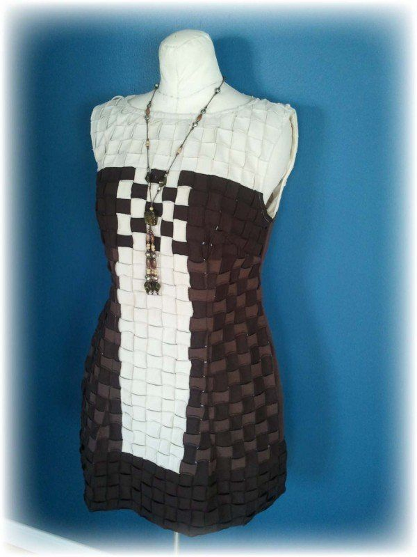 Upcycled Basket Weave   T Shirt Party Dress in fabric diy  with T Shirts Recycled Fabric Dress