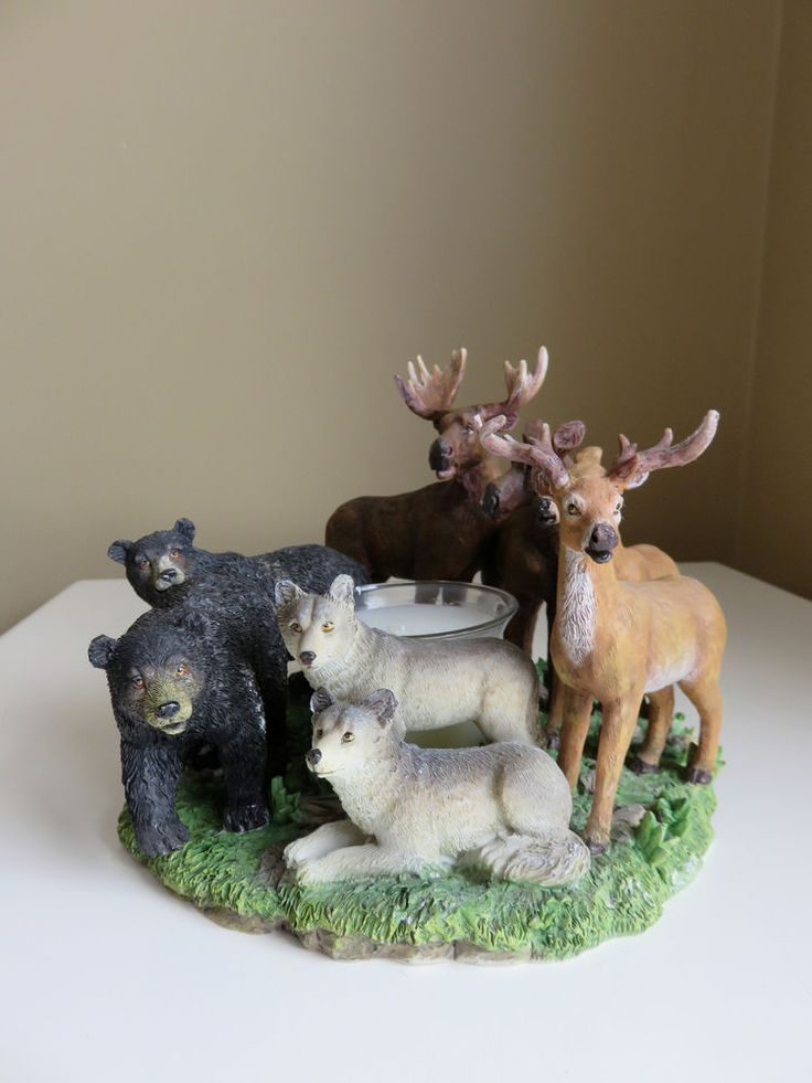 Wildlife Glass Votive Candle Holder Moose Deer Bears 7 in.Resin Country Cottage