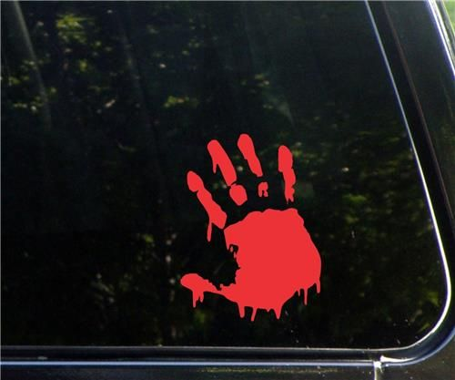 Car window sticker bloody zombie hand vinyl decal home wall decor laptop red