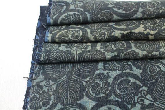 Antique Boro Textile. Japanese Katazome Cotton. Indigo /