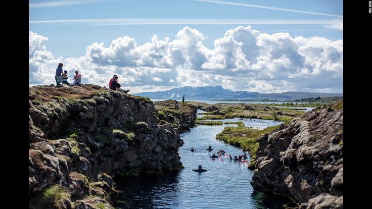 The continental divide at Thingvellir National Park in Iceland is the only place in the world where you can hold two continental plates at once: the North American plate on one side, the Eurasian plate on the other.