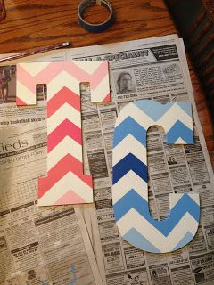 Chevron Painted Letters: a how to guide! Dorm artwork!