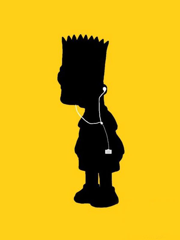 i'm forced to write a description… but really, look, it's an apple iPod ad with Bart. 'huff said.
