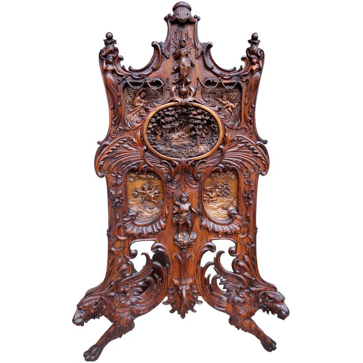 Monumental Continental Black Forest Style Carved Fire Screen, Circa 1900.  Art FurnitureAntique ...