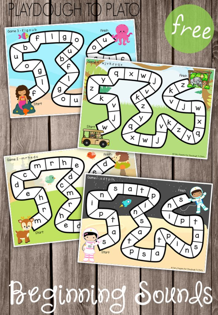 FREE Beginning Sounds Games for New Readers. Such a fun way to practice letter sounds! These would be a perfect literacy center activity.