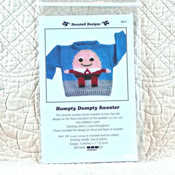 KNITTING PATTERN Dovetail Designs Humpty Dumpty Sweater Child Chest 20 24 28 32 36 2-oz