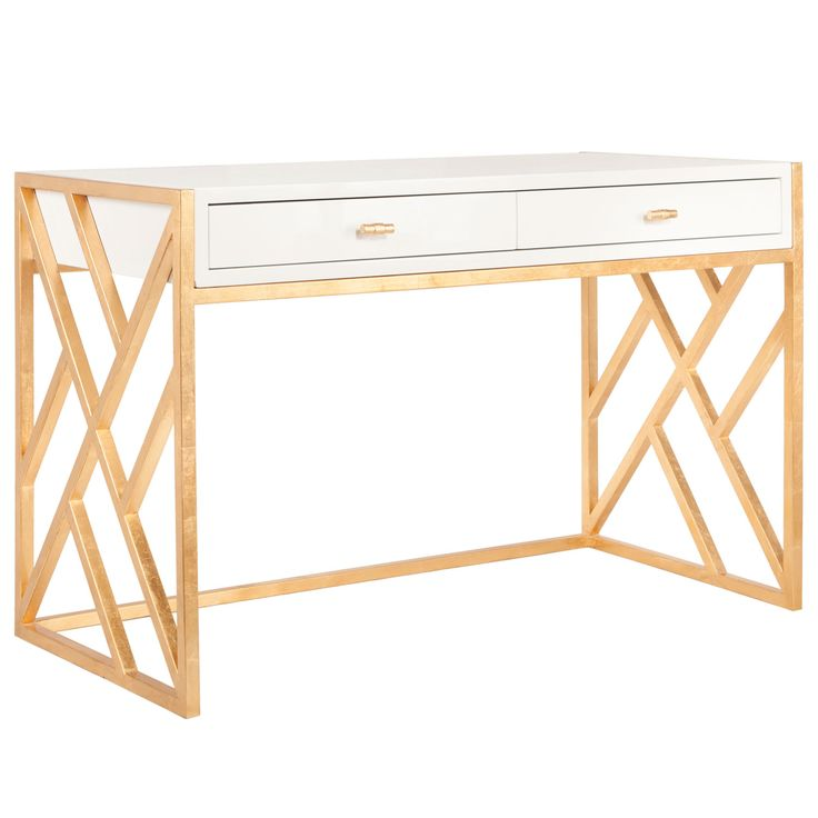 Worlds Away Cordelia White And Gold Desk