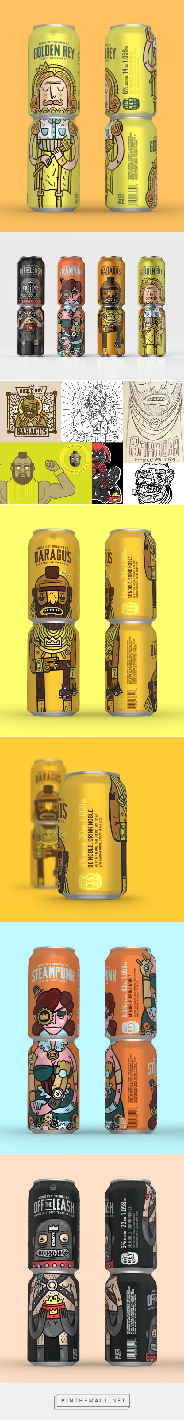 Packaging and branding for Noble Rey Brewing Co. via Oh Beautiful Beer by Magnificent Beard curated by Packaging Diva PD. Ownable stacking system that creates a full body character when the cans are stacked two tall and are hard to miss when you're browsing the beer cooler…or double fisting.