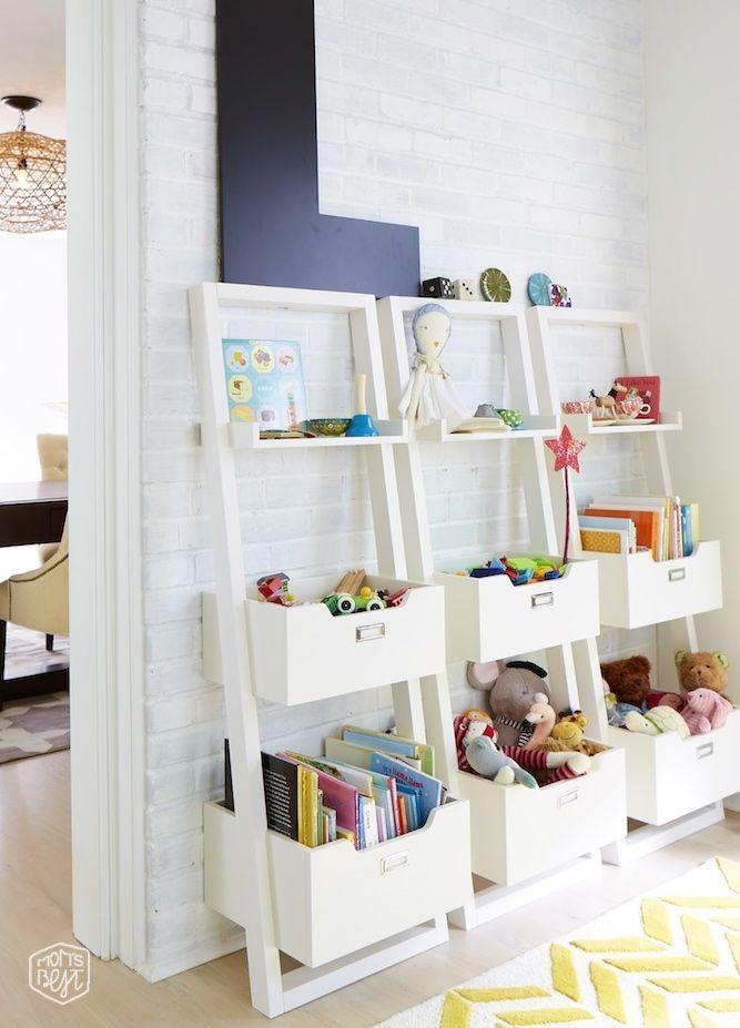 Clean, modern looking storage for a kids' playroom.