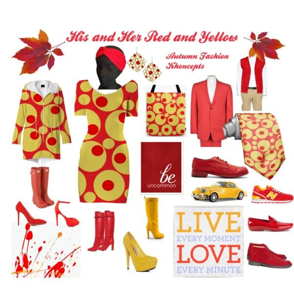 "Cloudy/rainy days requires wearing this vibrantly colorful ""His and Her Red and Yellow Autumn Fashion Khoncepts"" by Khoncepts  #redandgold #hisandherfashionideas #bodycondress"