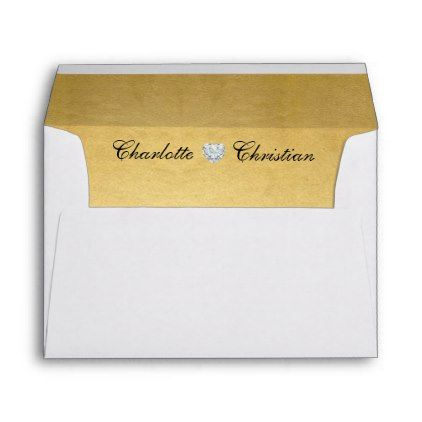 #Unique Personalized Gold Foil Liner Return Address Envelope - #Wedding #Printed & #Mailing #Envelopes #weddinginvitations #wedding #invitations #party #card #cards #invitation