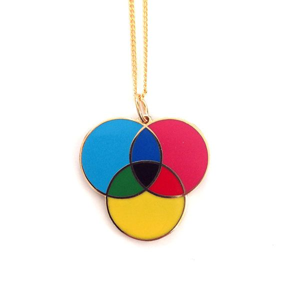 CMYK enamel necklace by plastique on Etsy, $32.00