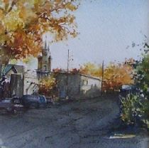 Watercolor Painting, by Carol Carpenter, Street in Old Town, 5in. x 5in.  $395, Southwest Art, Landscape,  @ weemsgallery.com