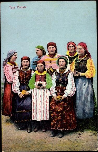 Postcard Typy Polskie, Traditionelle polnische Volkstrachten, Frauen 1916 Bredow