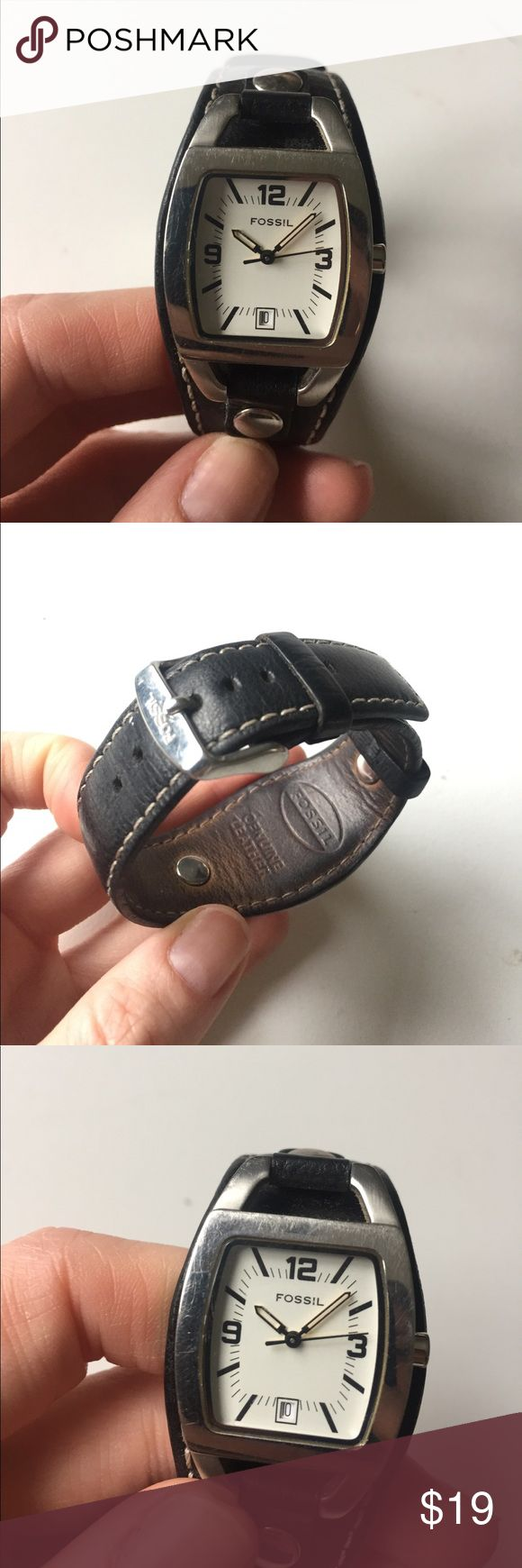 Black leather Fossil watch Older but still in great condition. Minor scratches on the face. See pic. Battery is dead. 😂 Accessories Watches
