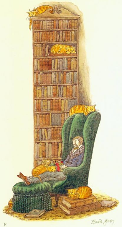 "Drawing ""Book Collector with Six Cats (one hidden)"" by Edward Gorey. Illustrator Gorey adored cats, had many, and left the bulk of his estate to a charitable trust benefiting pets."
