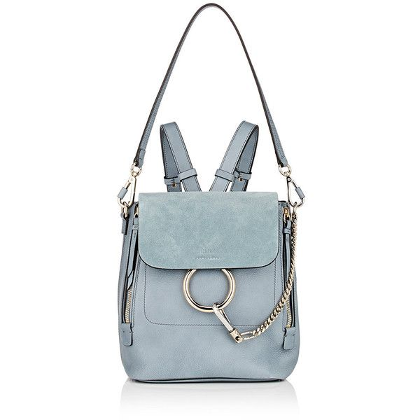 Chloé Women's Faye Small Backpack ($1,850) ❤ liked on Polyvore featuring bags, backpacks, backpack, light blue, strap backpack, zip bag, zipper bag, boxy backpack and expandable bag