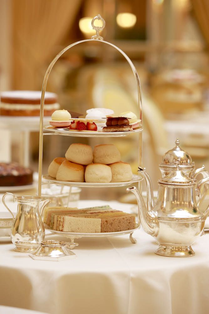 English Afternoon Tea - lovely tradition to get together with friends.  Current trend, start from bottom up (fingers sandwich or savory tidbits, scones and jam then sweet dessert or fruits)
