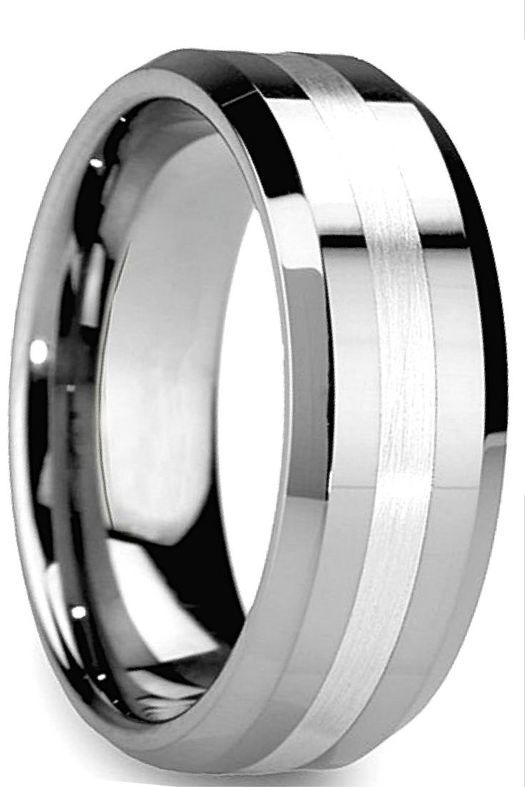 8mm tungsten carbide wedding band with satin center stripe and beveled edges. I…