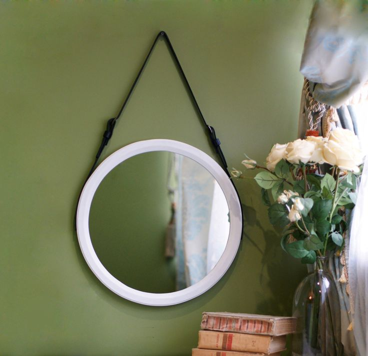 "White Round Mirror ""Astypalea"" / Strap Wall Mirror / Wall Hanging Mirror / Leather Mirror / Loft Style Belt Mirror / Unique Vanity Mirror by TukiTukDesign on Etsy https://www.etsy.com/nz/listing/496438554/white-round-mirror-astypalea-strap-wall"
