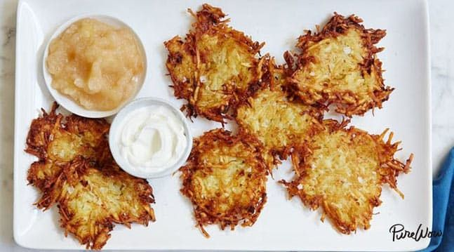 The Crispiest Potato Latkes Recipe of All Time from PURE WOW |  made these on Christmas with both types of potatoes (more russets though), parmesean, 2 eggs, and fried in butter/coconut oil. So good