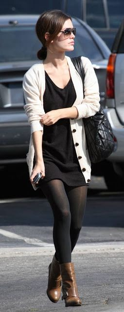 Celebrity look | Little black dress, tights, booties and neutral cardigan