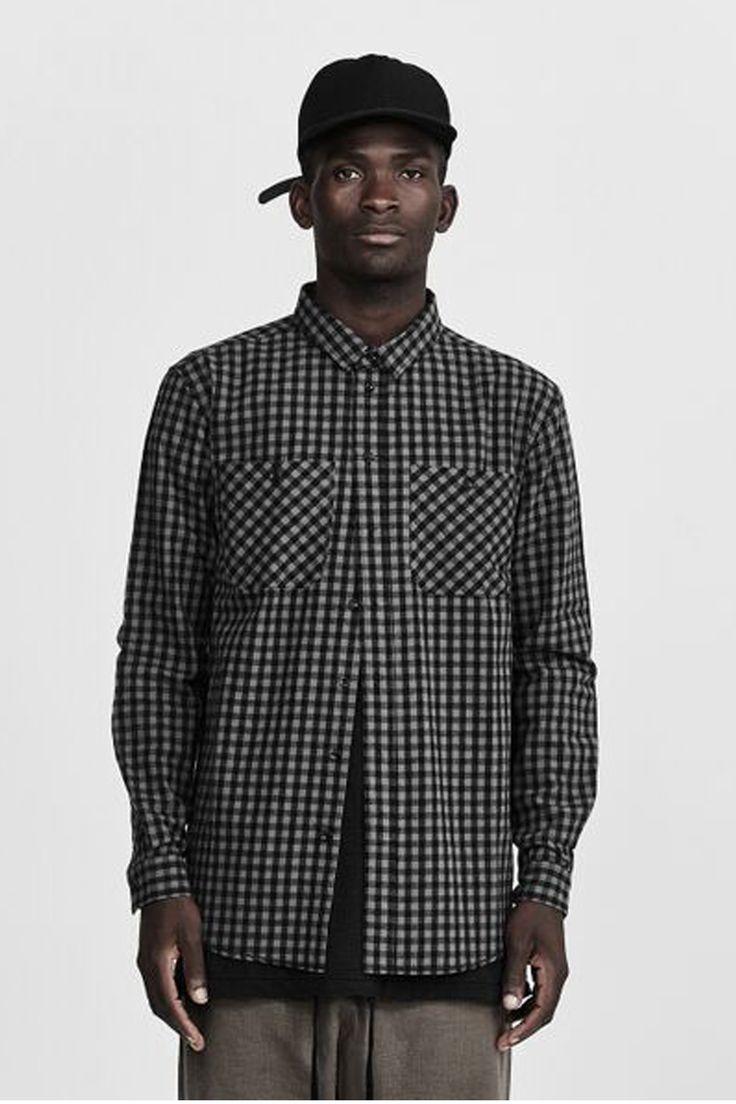 commoners - Classic Flannel Shirt   Charcoal Khaki