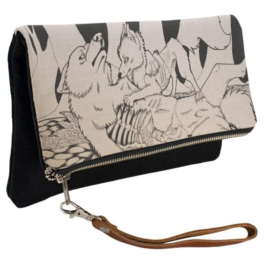 """Eat Your Heart Out "" Cute Gothic wolf and small dog couple Clutch bag"