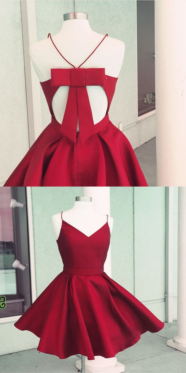 short homecoming dresses, satin dresses, red gowns, spaghetti straps drsses