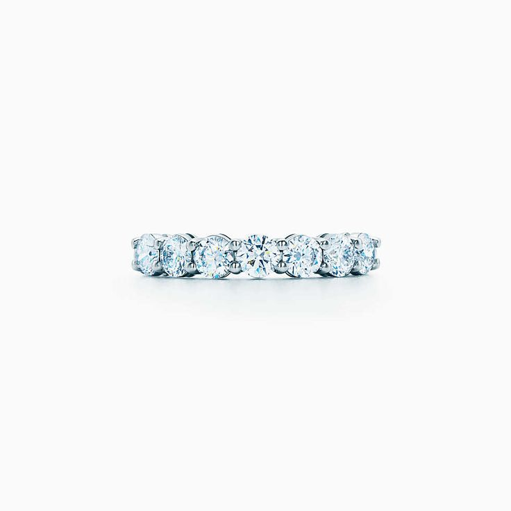 Tiffany Embrace® band ring in platinum with sapphires and diamonds, 3 mm wide.