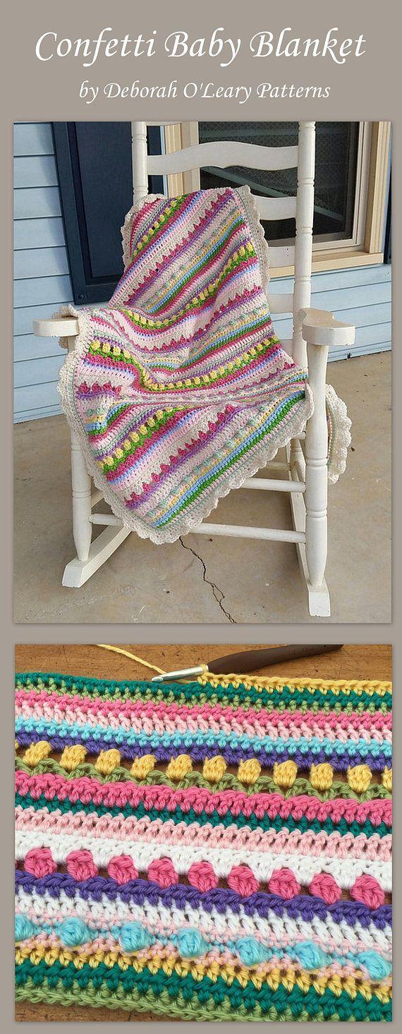 Crochet Confetti Baby Blanket Pattern by Deborah O'Leary Patterns  #crochet #crocheting #baby #nursery #blanket #easy